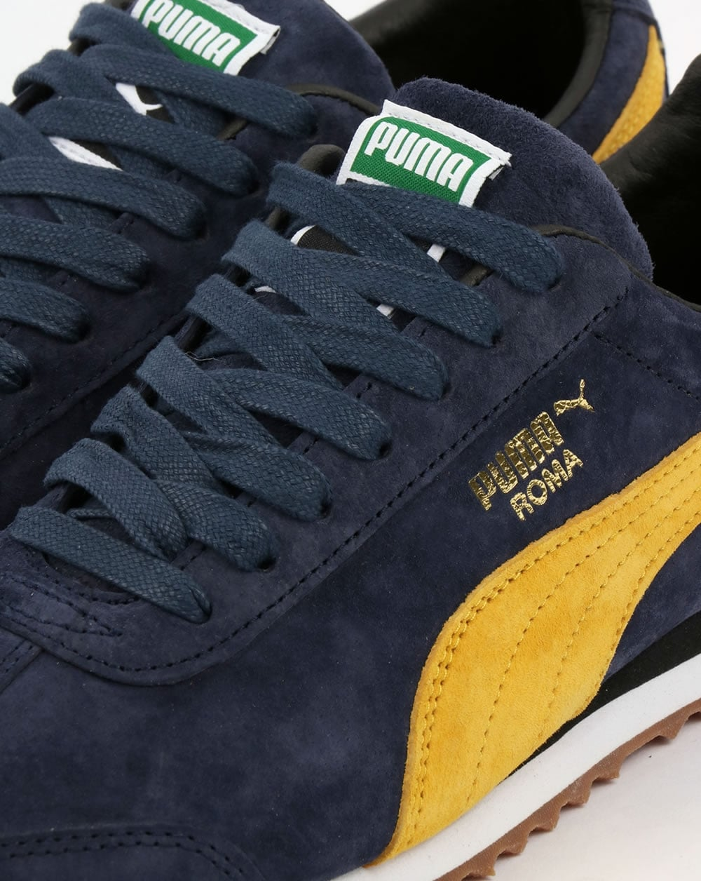 Puma Puma Roma Trainers Navy Yellow d3af838066d1