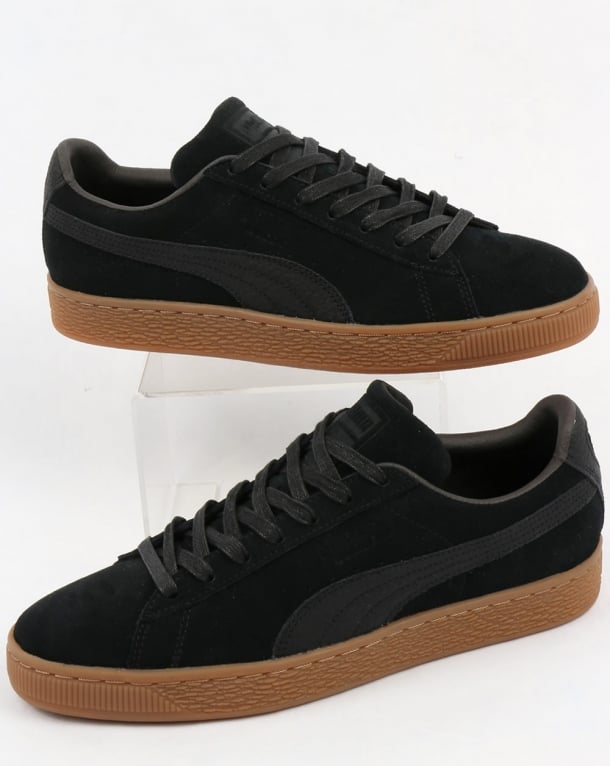Puma Suede Classic Premium Trainers Black with Gum sole