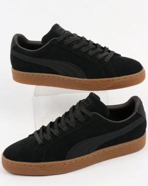 Puma Suede Classic Premium Trainers Black with Gum sole