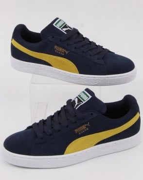 ed2a94e95ea Puma Suede Classic Trainer Navy Yellow