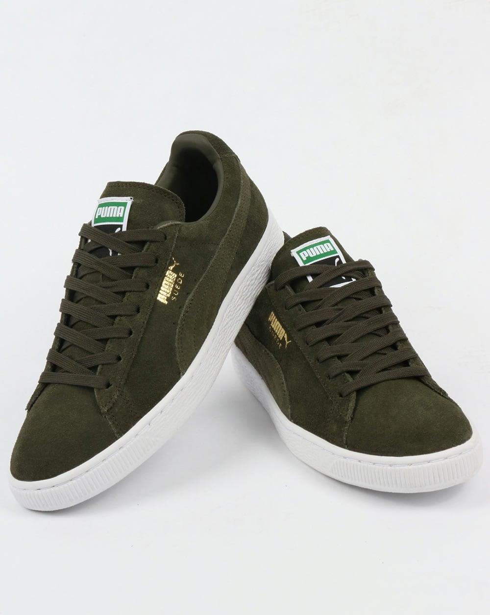 2eb7471ae24865 Puma Suede Classic Trainers Forest Night White