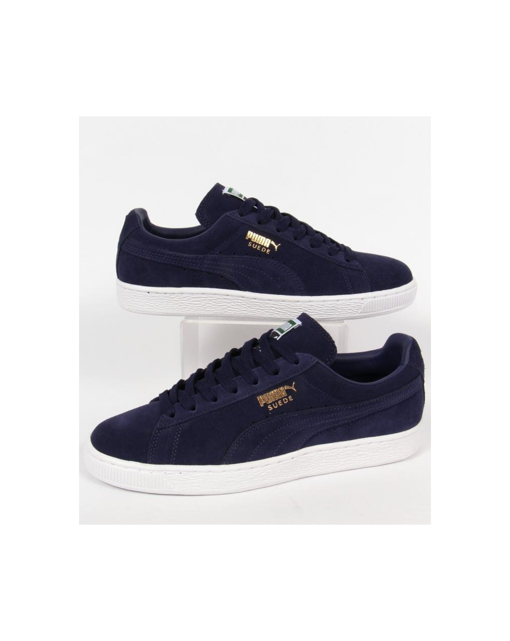 navy puma trainers