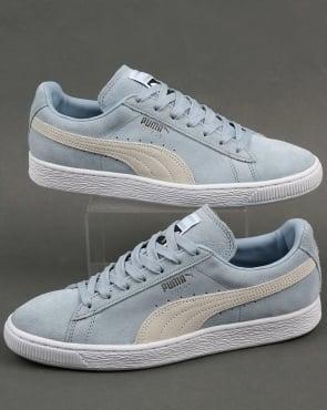Puma Suede Classic Trainers Sky Blue/White