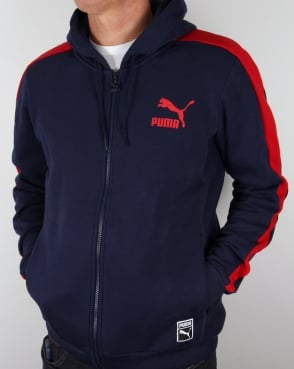 Puma T7 Full Zip Hoody Navy/red