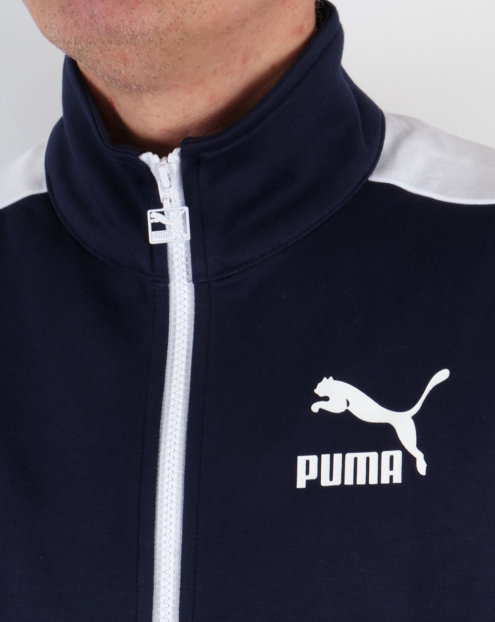 puma t7 track top navy white tracksuit jacket warm up mens. Black Bedroom Furniture Sets. Home Design Ideas