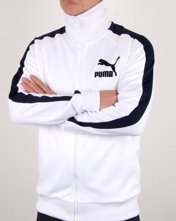 Puma T7 Vintage Track Jacket White Navy Mens Track Top
