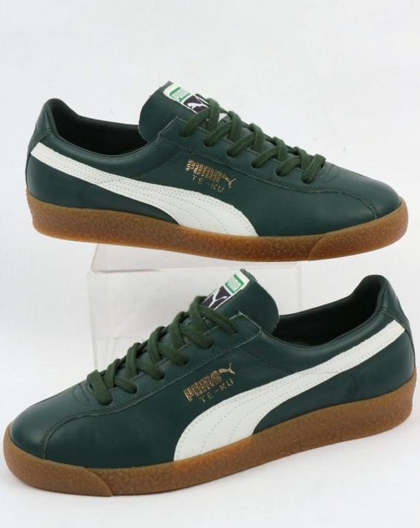 Puma Te Ku Leather Og Trainers Green White Shoe Retro