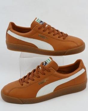 Puma Te-ku Leather og Trainers Sudan Brown/white