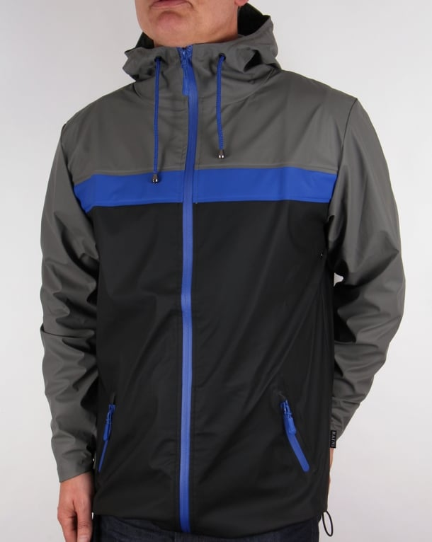 Rains Breaker Jacket Black/Grey/Cobalt
