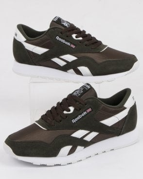 Reebok Cl Nylon Trainers Dark Green/white