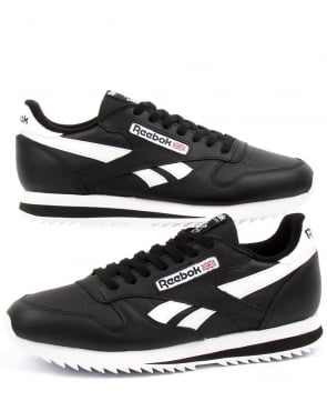 Reebok CL Ripple Leather Trainers Black/White