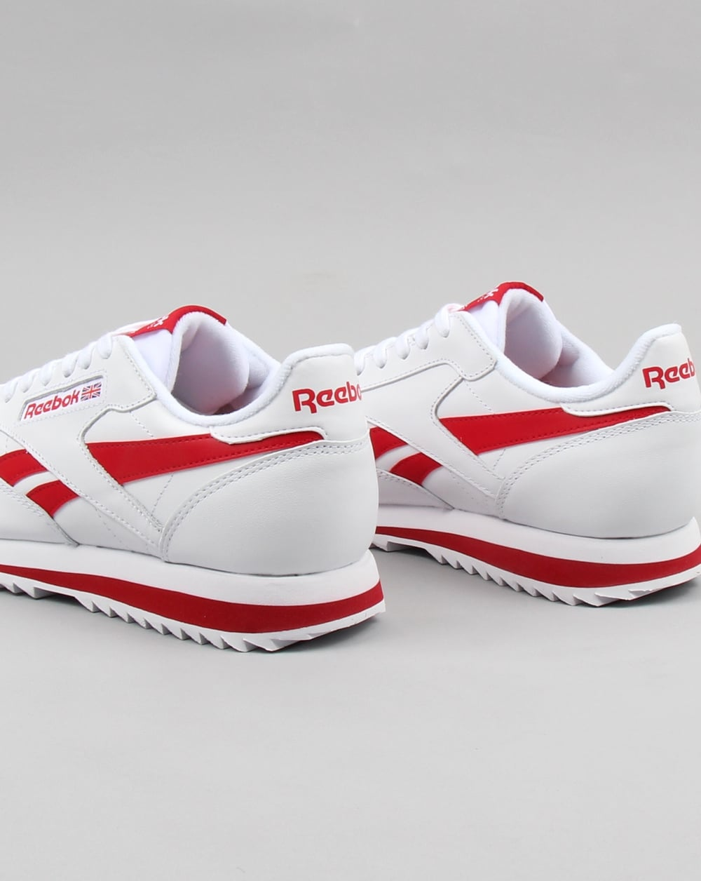 8154a895e4f54 Reebok CL Ripple Leather Trainers White red