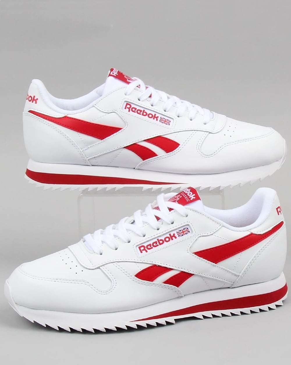 red and white reebok sneakers