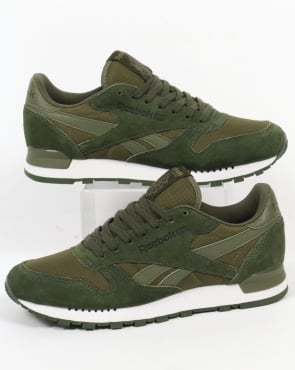 Reebok Classic Leather Clip Trainers Moss Green