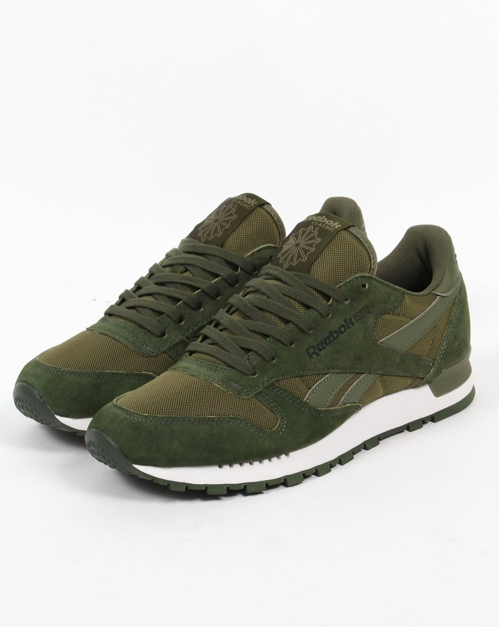 Reebok Classic Leather Clip Trainers Moss Green,80s,shoes,mens
