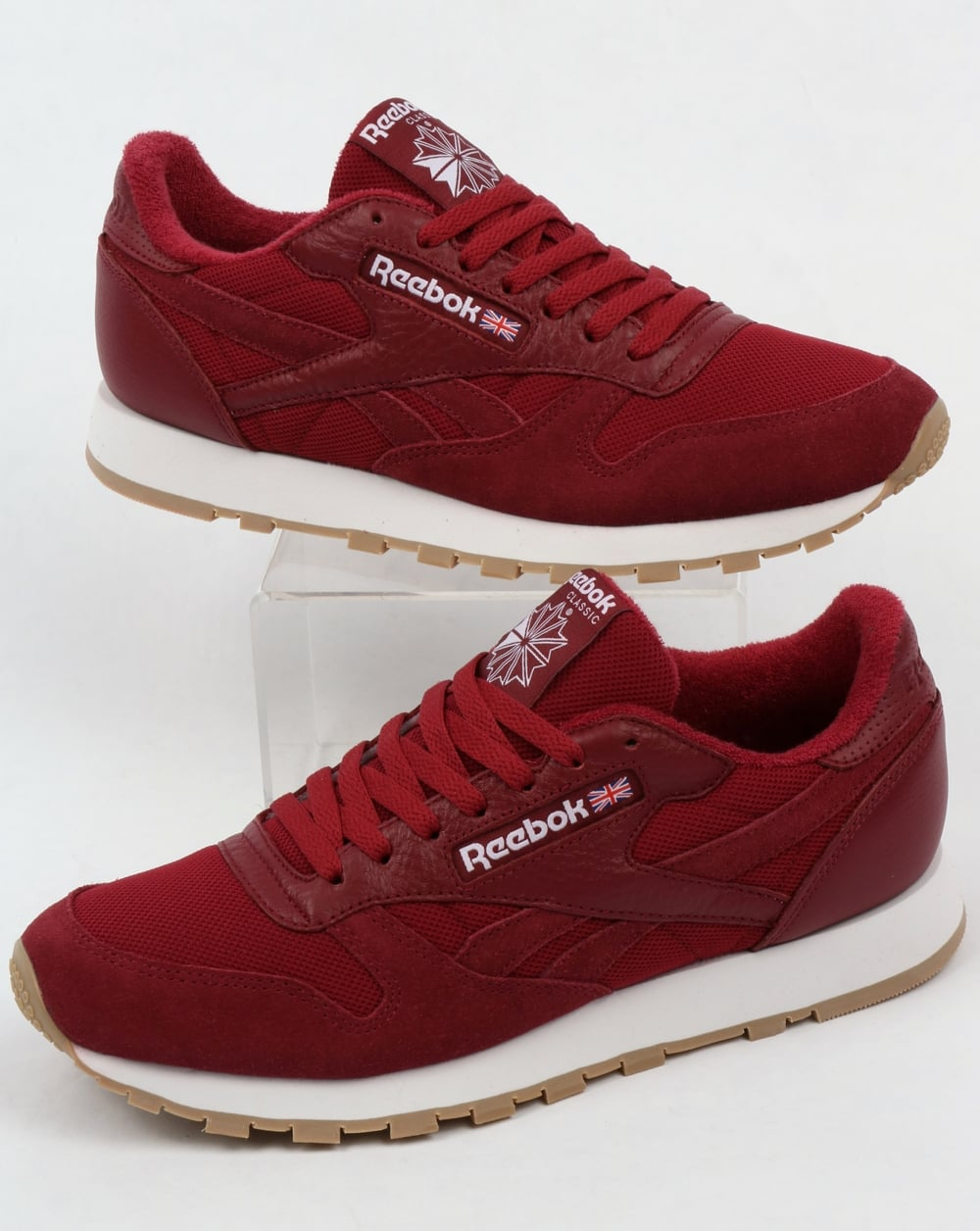 Reebok Reebok Classic Leather ESTL Trainers Urban Maroon White 295f04992