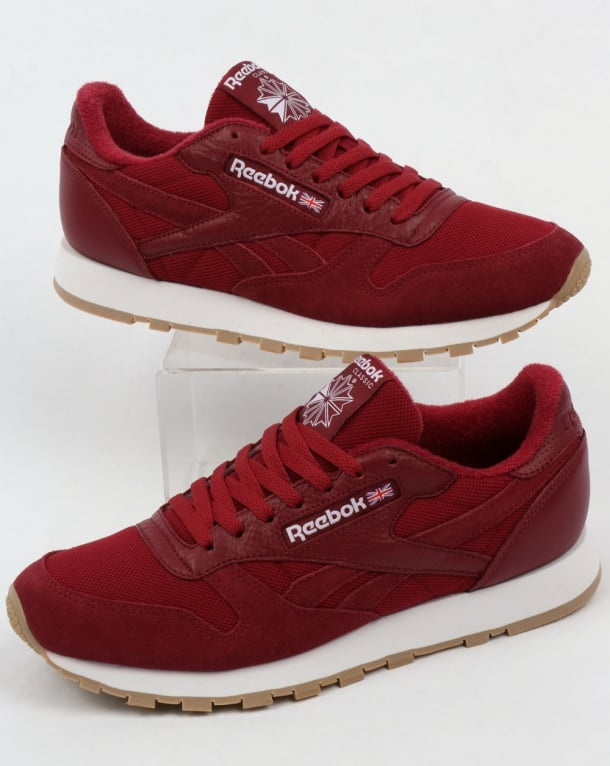 Reebok Classic Leather ESTL Trainers Urban Maroon/White