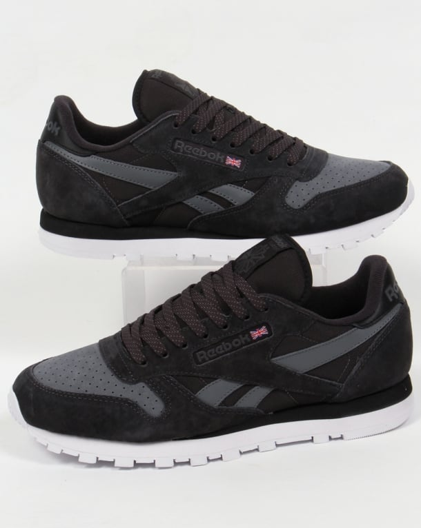 3c69c352f0070 Reebok Classic Leather NP Trainers Coal Black White