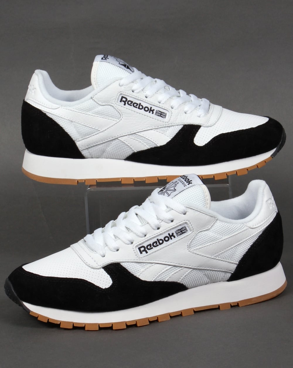 reebok classic leather perfect split trainers white black. Black Bedroom Furniture Sets. Home Design Ideas