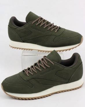 Reebok Classic Leather Ripple Trainers Hunter Green/Grey