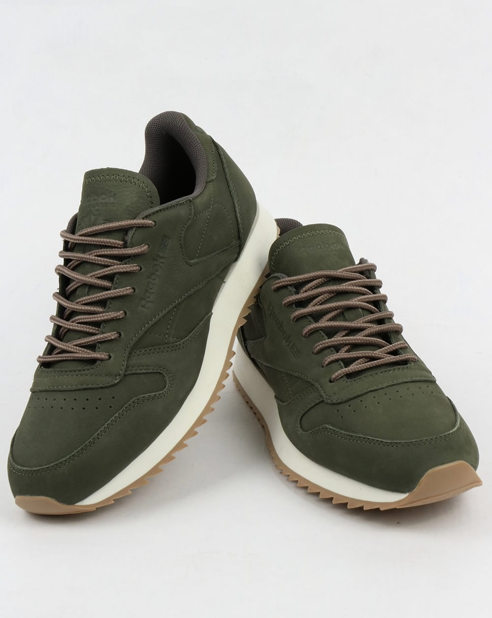 71fb37a5d50 Reebok Classic Leather Ripple Trainers Hunter Green Grey
