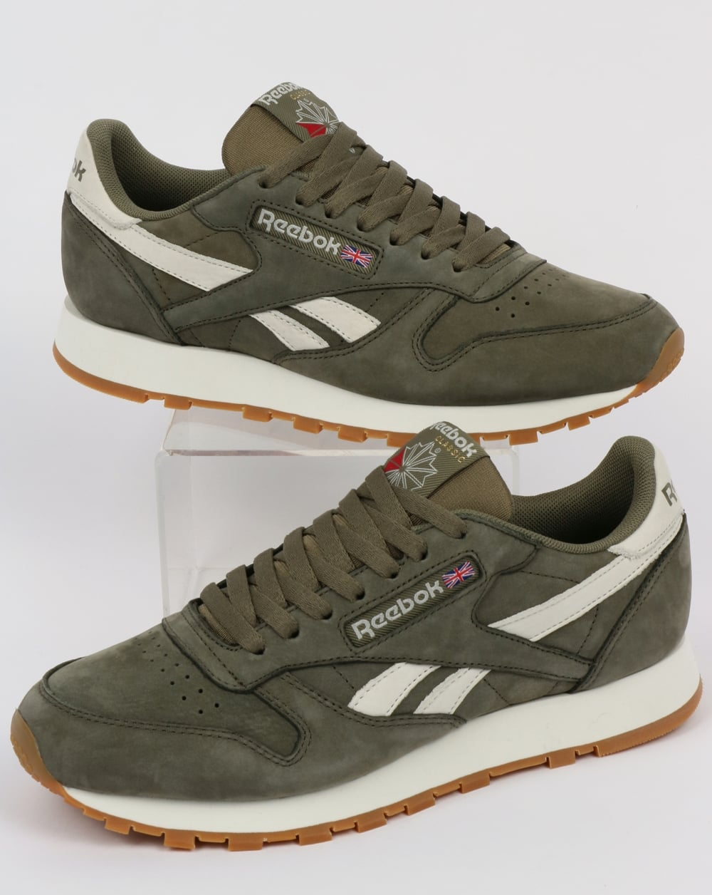 7107f9098ca Reebok Reebok Classic Leather TL Trainers Washed Olive Chalk