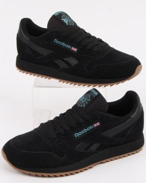 401e210bccf Reebok Classic Leather Gum Sole Trainers in Black