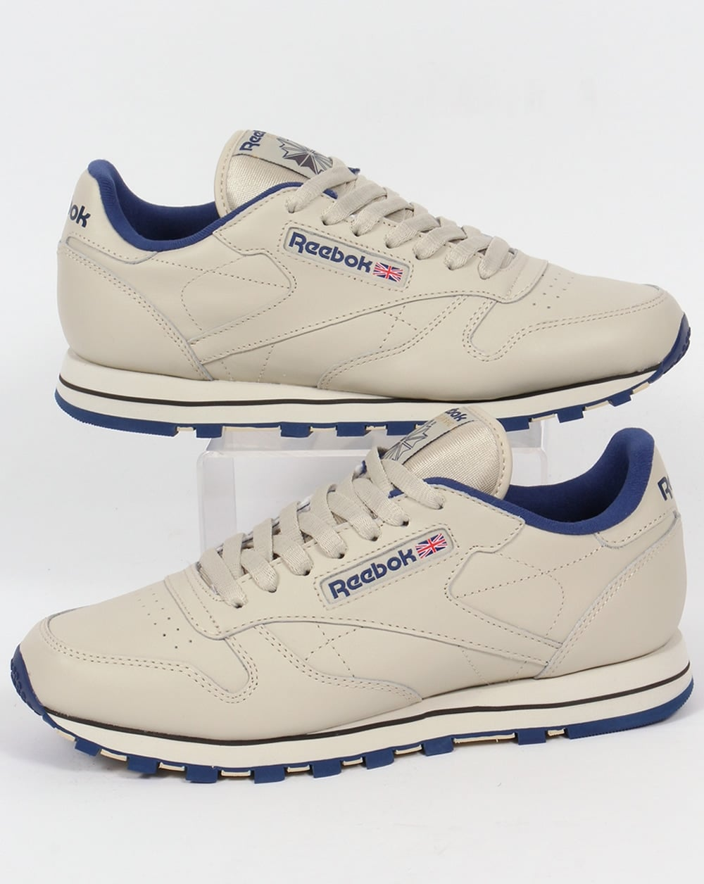Reebok Classic Leather Trainers Ecru/Navy,shoes,utility,mens - photo#31