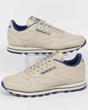 Reebok Classic Leather Trainers Ecru/Navy