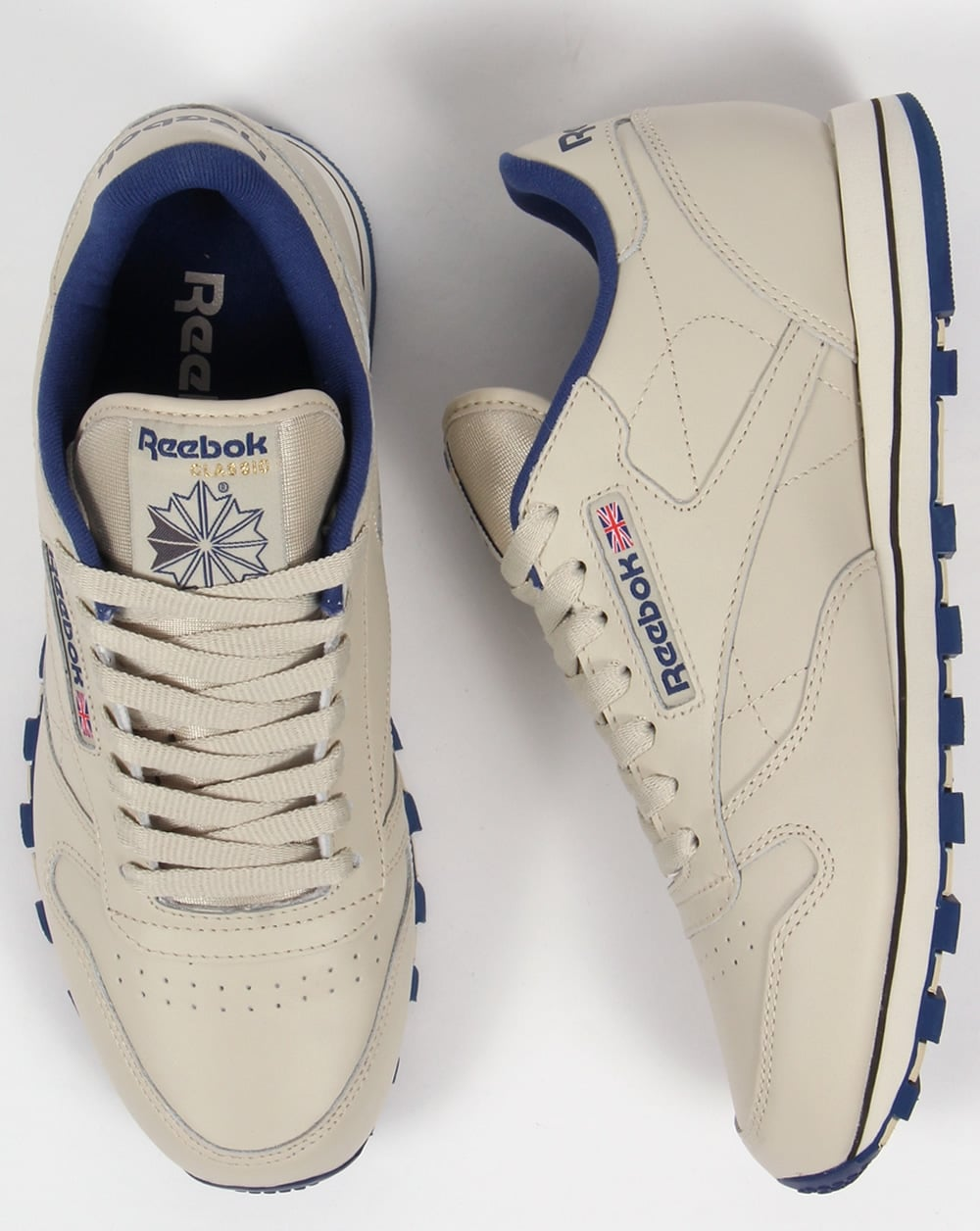 Reebok Classic Leather Trainers Ecru Navy e9b2d9bbb1