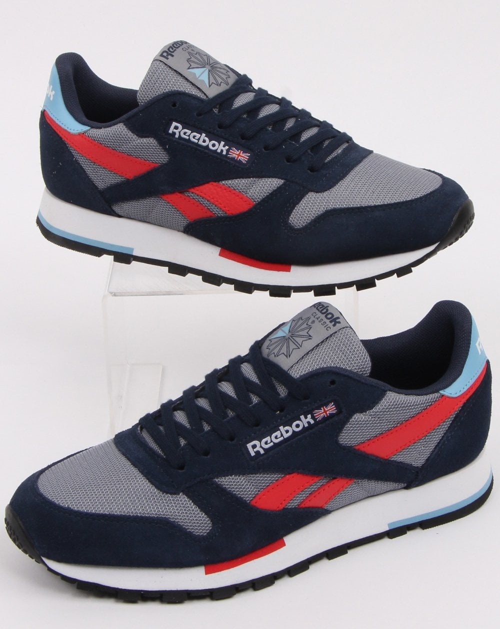 photos officielles 839b7 c612e Reebok Classic Leather Trainers Grey/navy