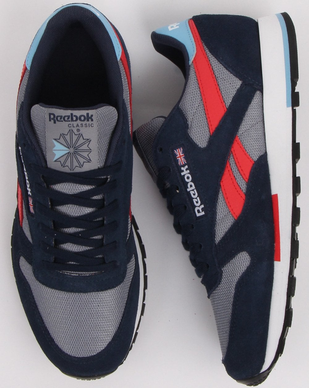 5d1d89cfec0 Reebok Classic Leather Trainers in Grey   Navy