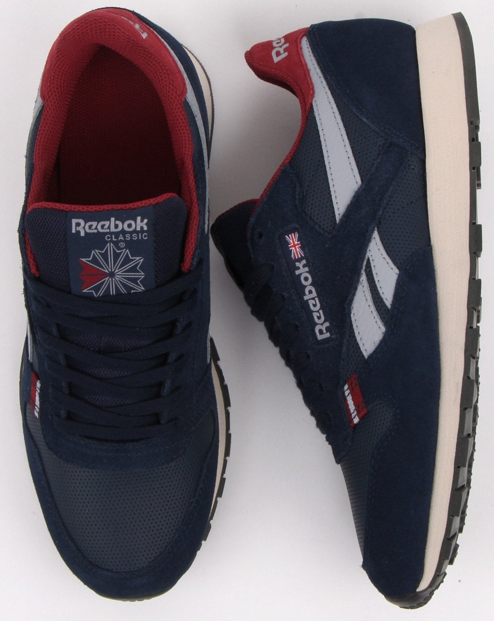 29678a5ab24 Reebok Reebok Classic Leather Trainers Navy red