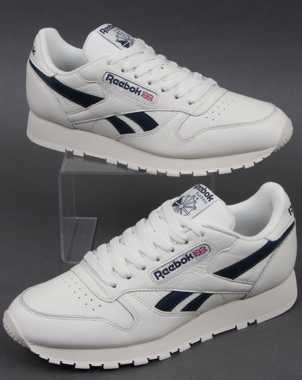 buying cheap outlet store special section Reebok Classic Leather Trainers Vintage White/Navy
