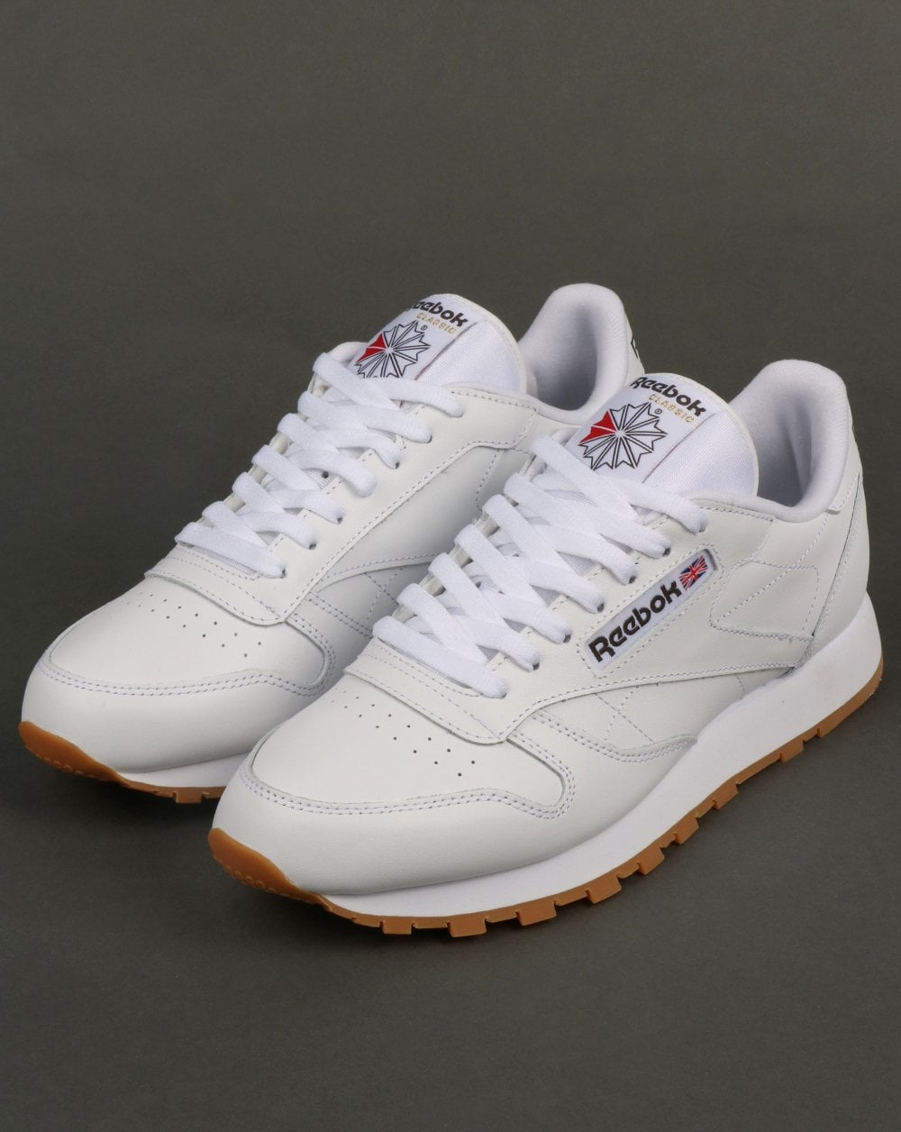 the latest 108ba 4badb Reebok Classic Leather Trainers White Gum