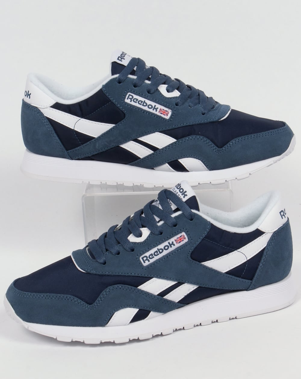 check out double coupon high fashion Reebok Classic Nylon Trainers Brave Blue/White