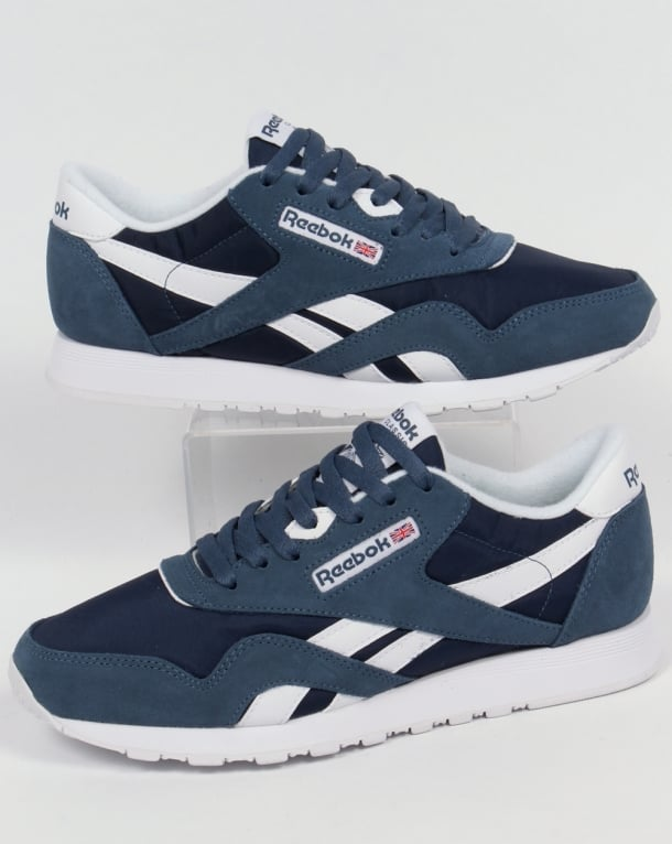 reebok classic mens white and blue