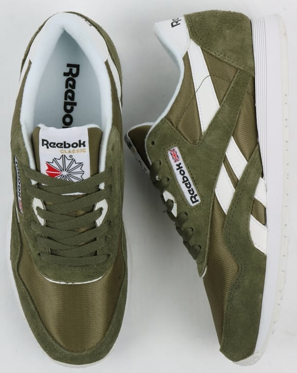 d79420c416999 Reebok Classic Nylon Trainers Hunter Green