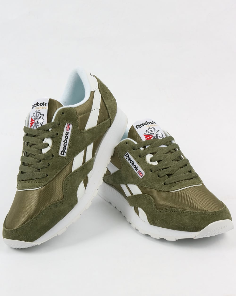 reebok classic nylon trainers hunter green shoes runners mens. Black Bedroom Furniture Sets. Home Design Ideas