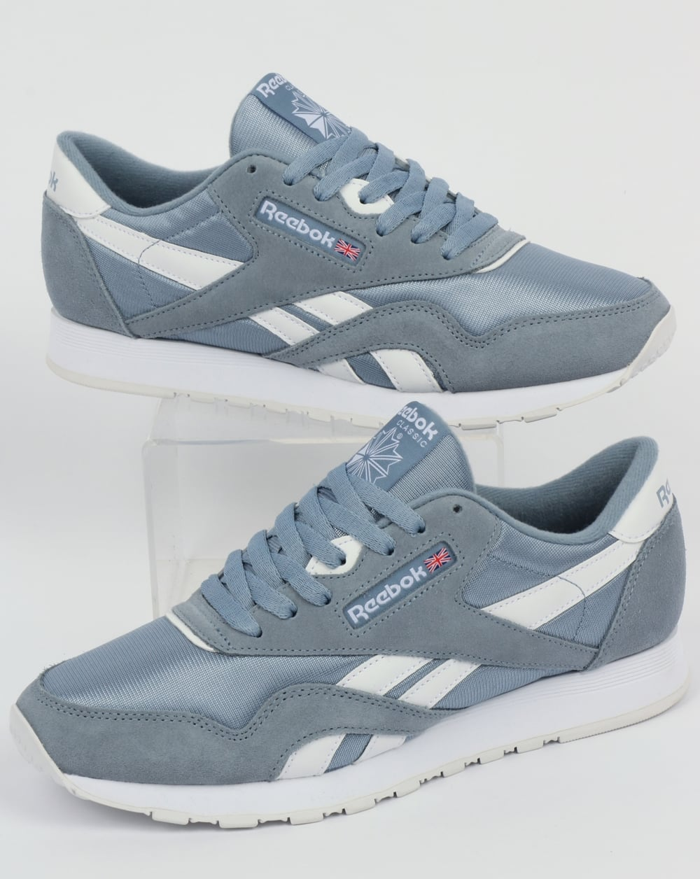 50% pris välkänd New York Reebok Classic Nylon Trainers Rain Cloud/White,shoes,runners,mens