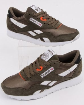 detailed look 15f26 f9978 Reebok Classic Nylon Trainers Olive Green