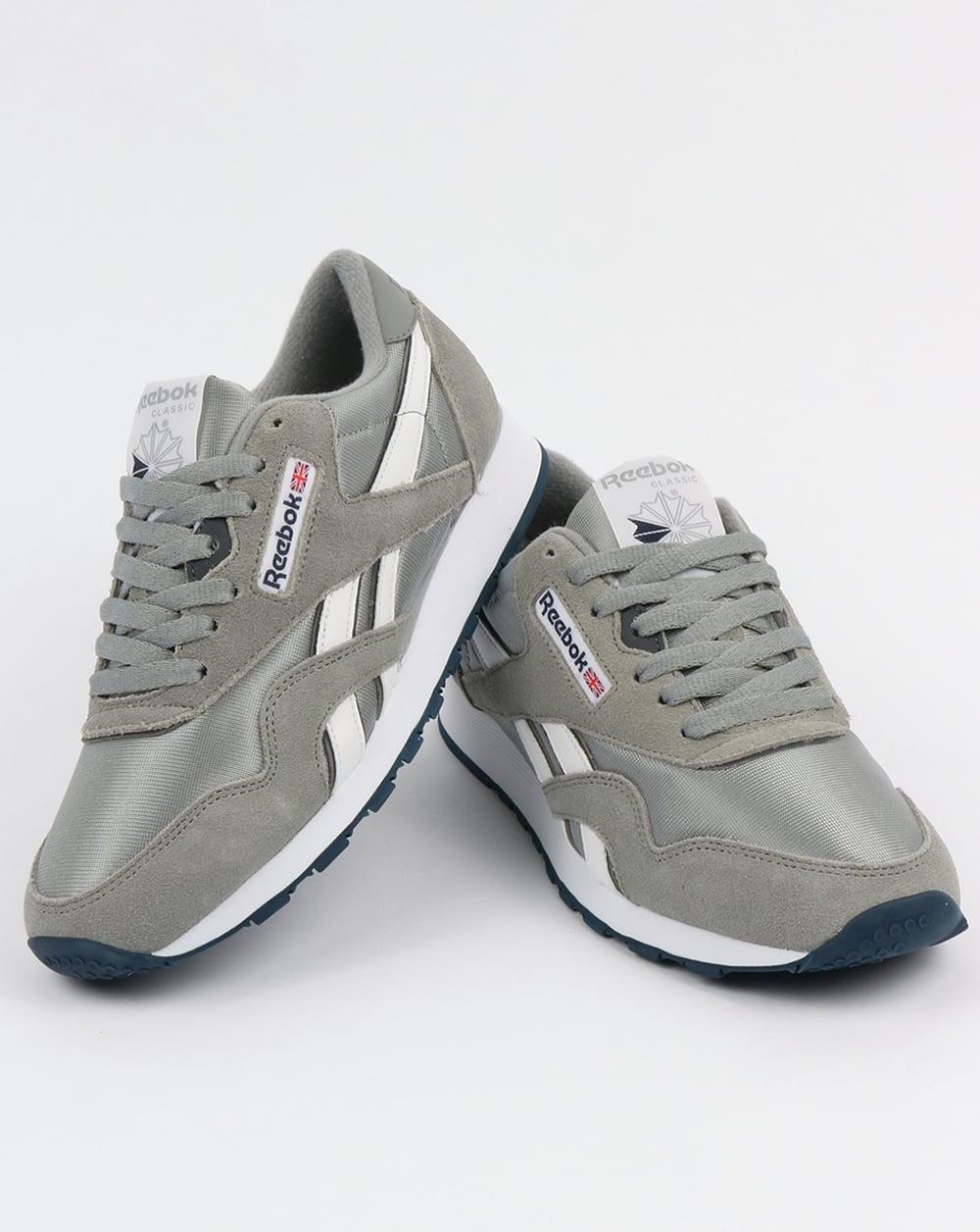Men s Reebok Classic Nylon Platinum Jet Blue Shoes