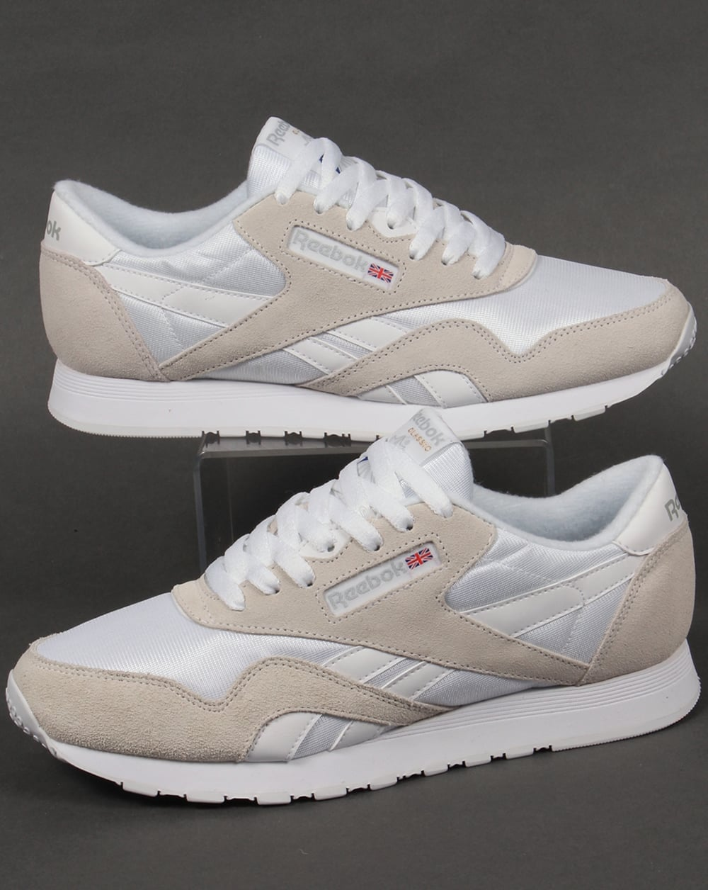 62a2b94750035 Reebok Reebok Classic Nylon Trainers White Light Grey