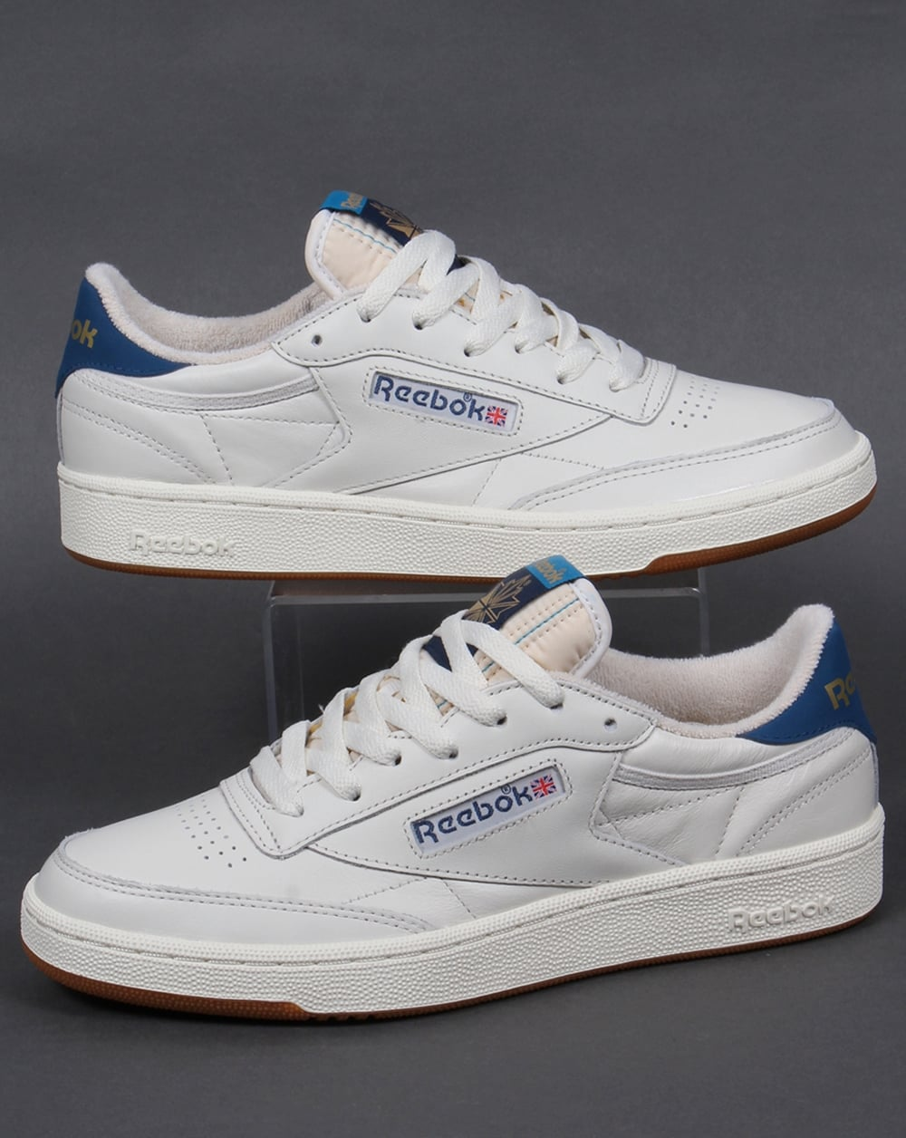 reebok club 85 retro trainers chalk white blue shoe gum mens. Black Bedroom Furniture Sets. Home Design Ideas