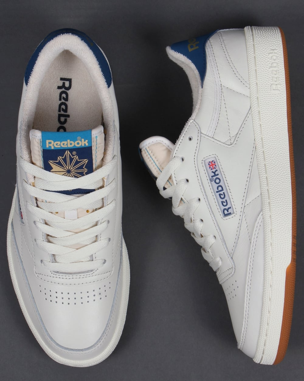 4e47e42d6ede6e Reebok Club 85 Retro Trainers Chalk White Blue