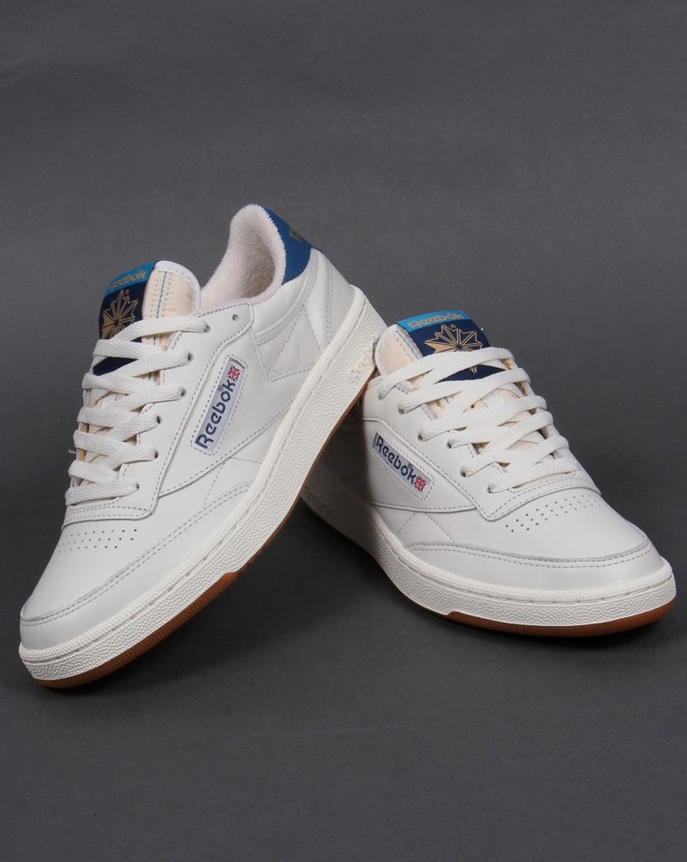 reebok club 85 retro trainers chalk white blue shoe gum mens. Black Bedroom Furniture Sets. Home Design Ideas