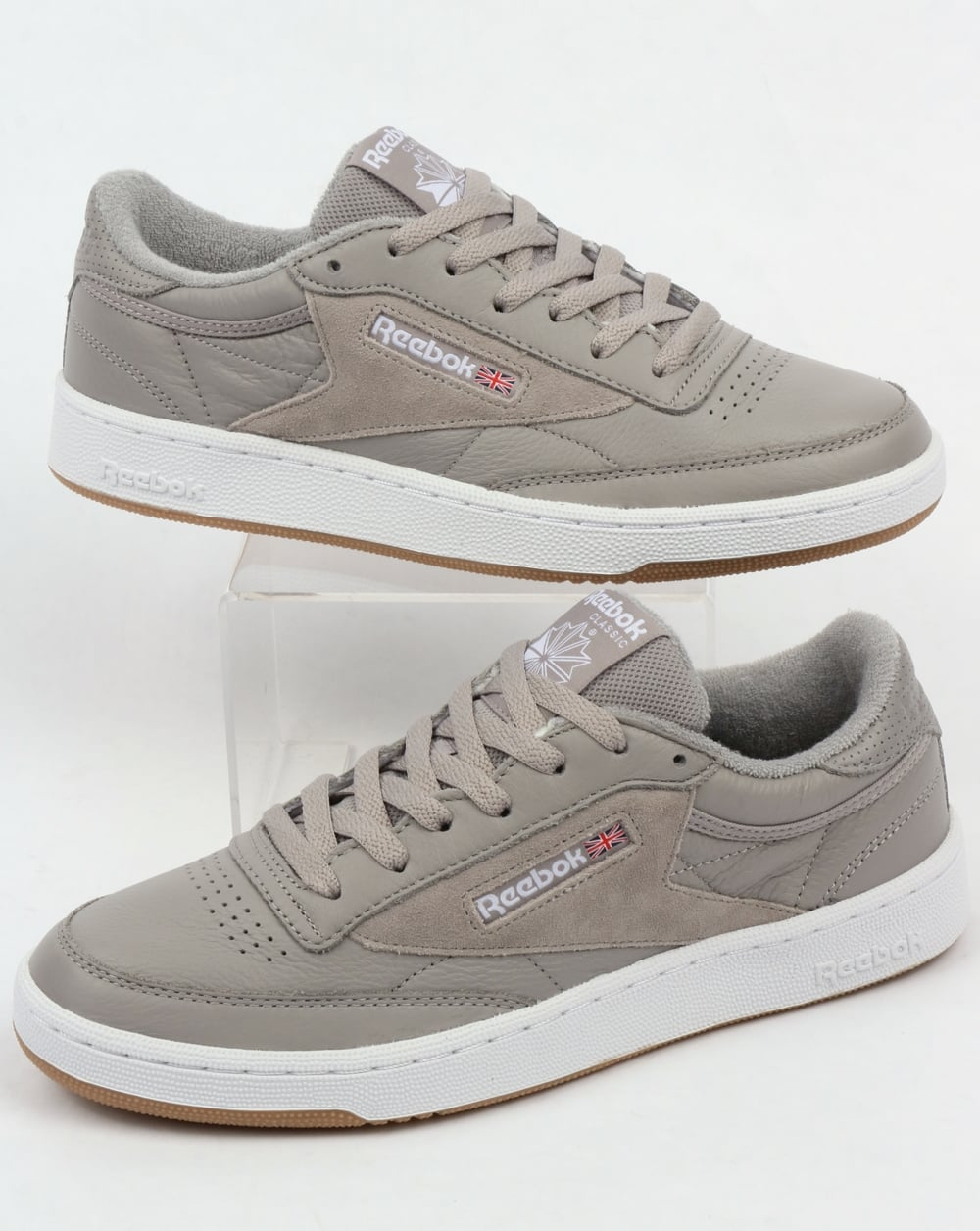 f7f716bfadf Reebok Club C 85 ESTL Trainers Powder Grey,shoes,leather,suede,mens