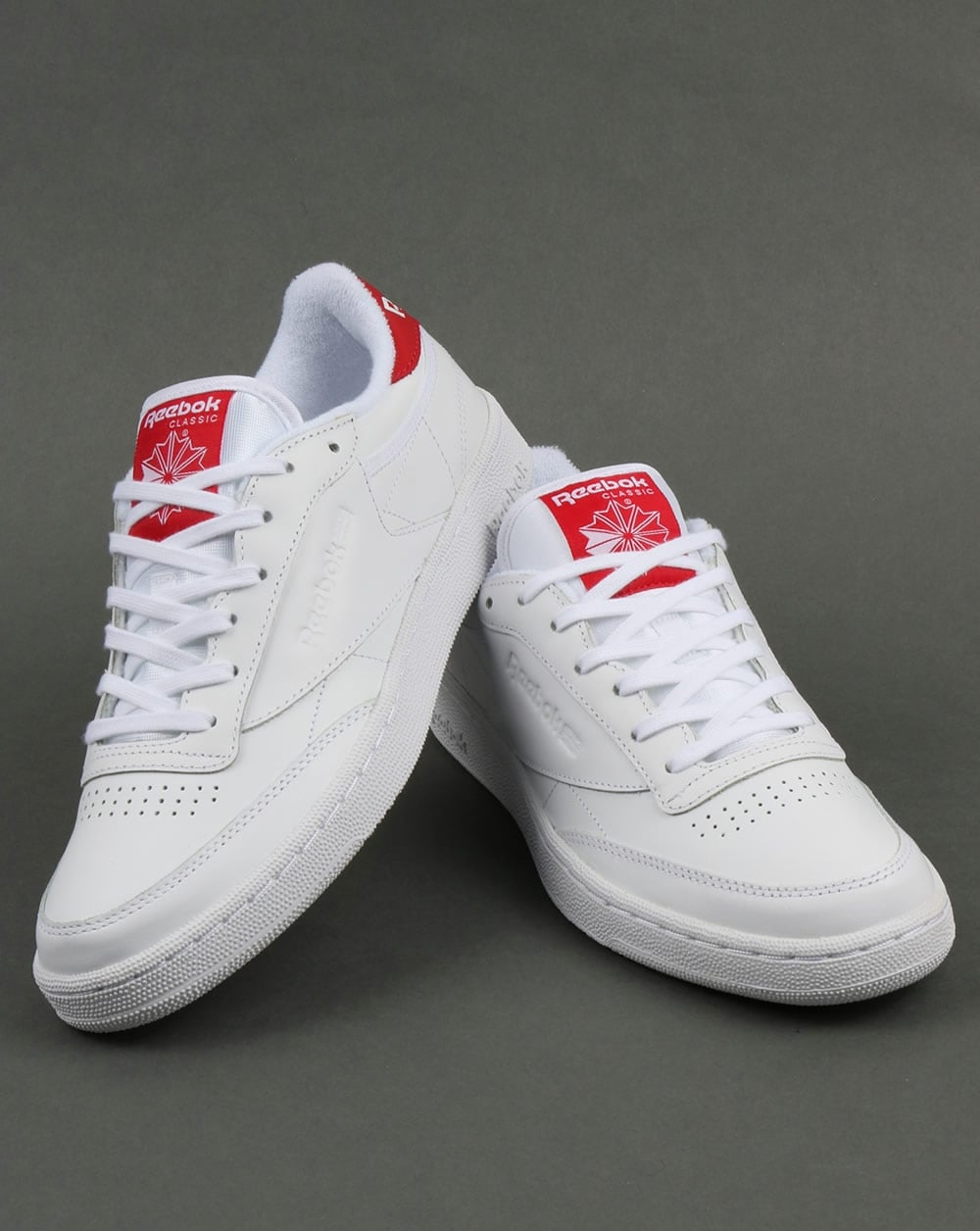 reebok club c 85 el trainers white red shoe retro mens. Black Bedroom Furniture Sets. Home Design Ideas