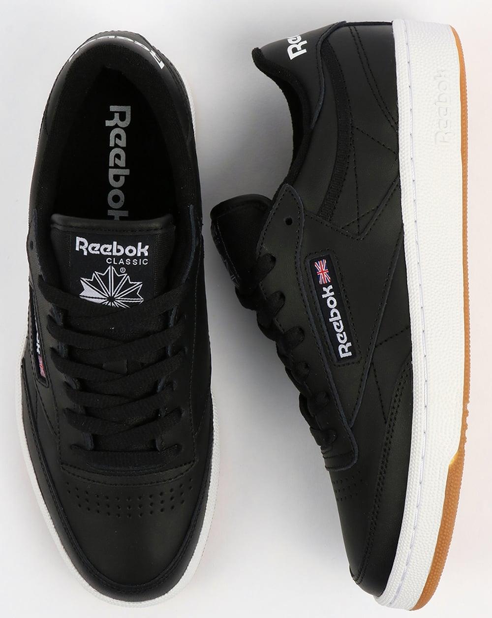 reebok club c 85 trainers black white gum shoes tennis low