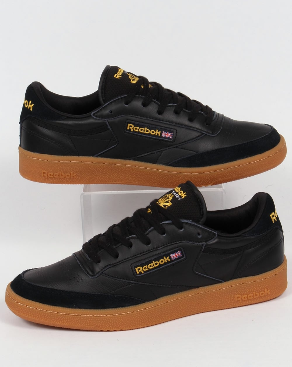 reebok club c 85 trainers black yellow shoe gum leather mens. Black Bedroom Furniture Sets. Home Design Ideas